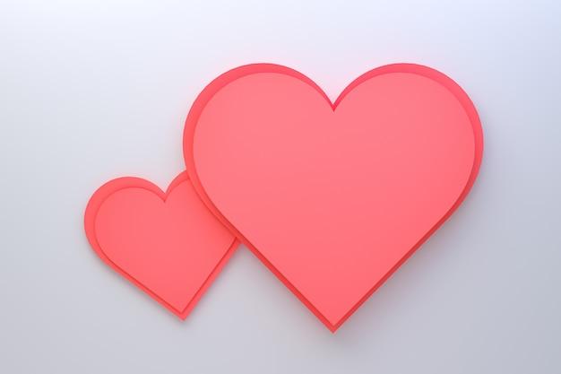 Diseño de tarjeta de felicitación de representación 3d, corazones rojos con letras postal. fondo de amor para el diseño de tarjeta de felicitación de feliz día de san valentín o amor de mamá. Foto Premium