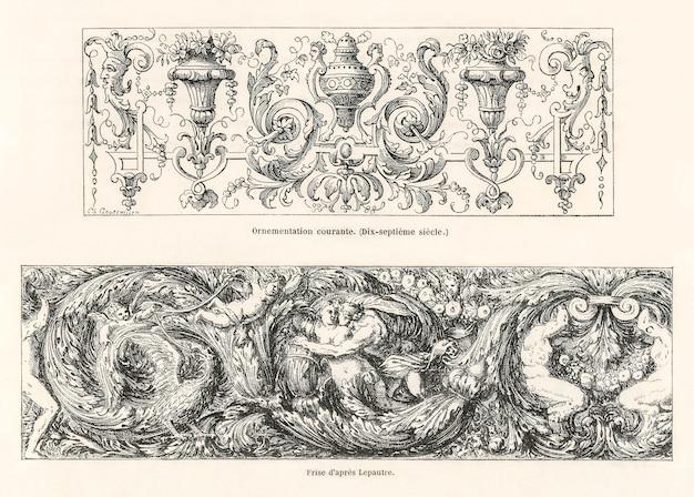 Diseños ornamentales del siglo xvii. Foto gratis