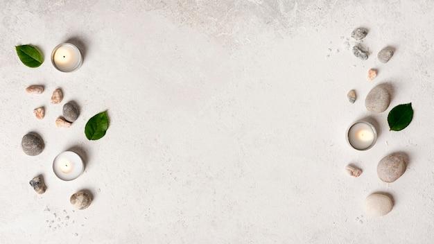 Disposición plana de elementos de spa Foto gratis