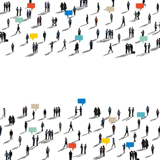 Diversas personas silueta comunicación conexión Foto gratis
