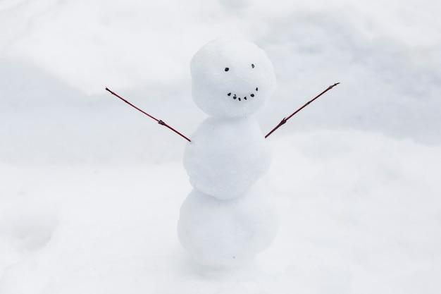 Divertido muñeco de nieve en el banco de nieve Foto gratis