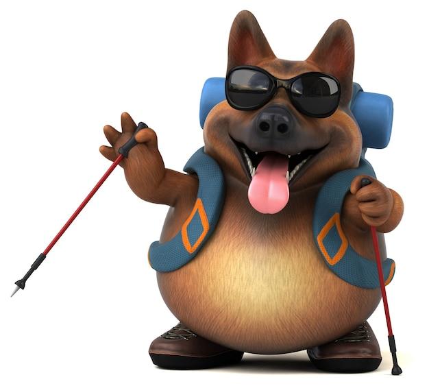 Divertido personaje de dibujos animados de perro pastor alemán mochilero Foto Premium