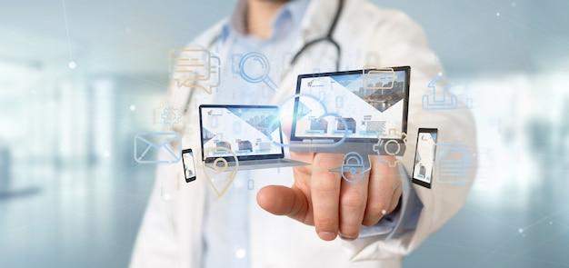 Doctor sosteniendo un dispositivos conectados a una red multimedia en la nube renderizado 3d Foto Premium