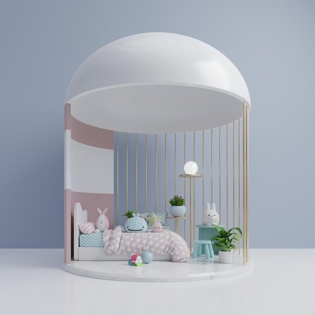 Un dormitorio infantil vacío con muñeca de juguete. Foto Premium