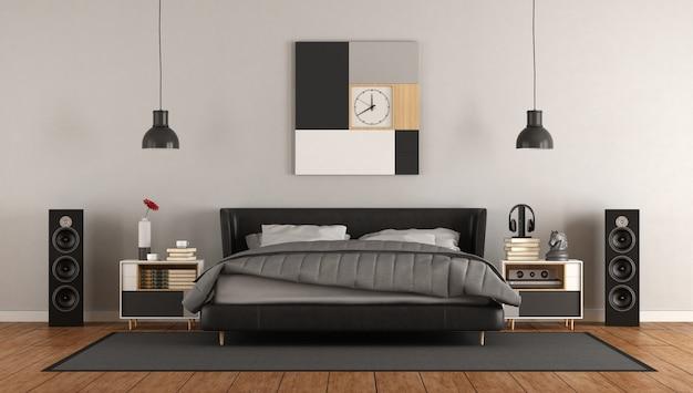 Dormitorio principal moderno en blanco y negro Foto Premium