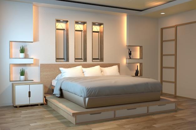 Dormitorio zen moderno y tranquilo Foto Premium