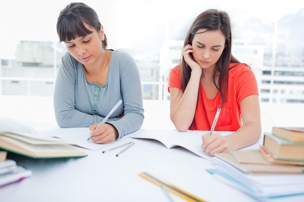 Dos chicas con las manos en la barbilla estudiando juntas   Foto Premium