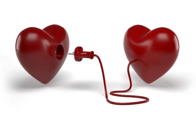 Dos corazones con línea eléctrica con enchufe alrededor Foto Premium