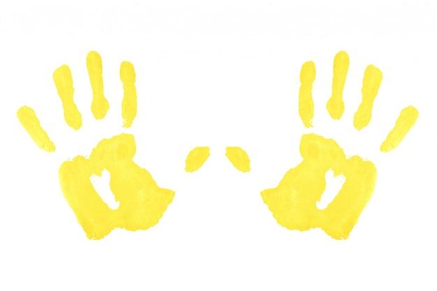 Dos huellas amarillas simétricas Foto Premium