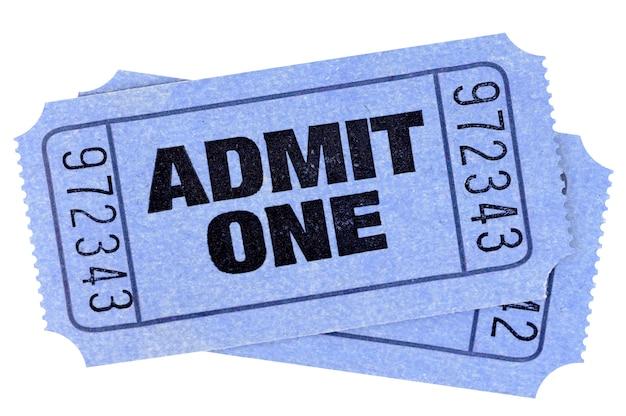 Dos talones azules de entradas para una película Foto gratis