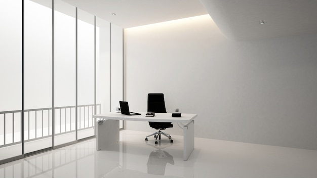 Edificio de oficinas de sala de gerente o sala de pesidencia, renderin 3d Foto Premium