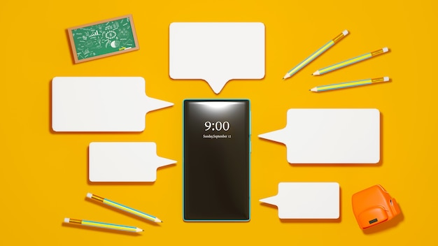 Educación digital en línea. 3d de móvil, bolsa sobre aprendizaje por teléfono, computadora. concepto de distancia social. aula red de internet en línea. Foto Premium