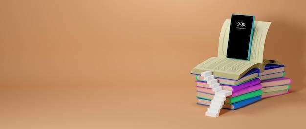 Educación digital en línea. 3d de móvil, libros sobre aprendizaje por teléfono, computadora. concepto de distancia social. aula red de internet en línea. Foto Premium