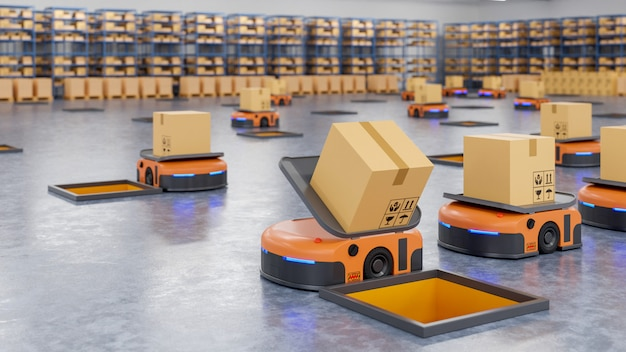 Un ejército de robots que clasifica eficientemente cientos de paquetes por hora (vehículo guiado automatizado) agv. Foto gratis