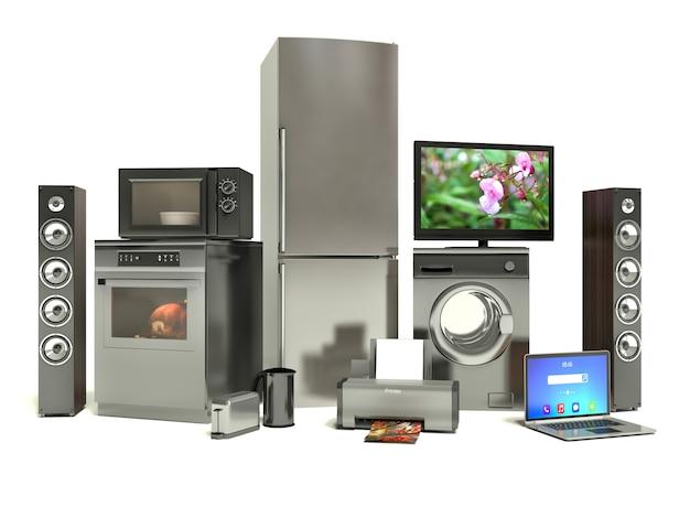 Electrodomésticos. cocina a gas, tv cine, refrigerador, aire acondicionado, microondas, computadora portátil y lavadora Foto Premium