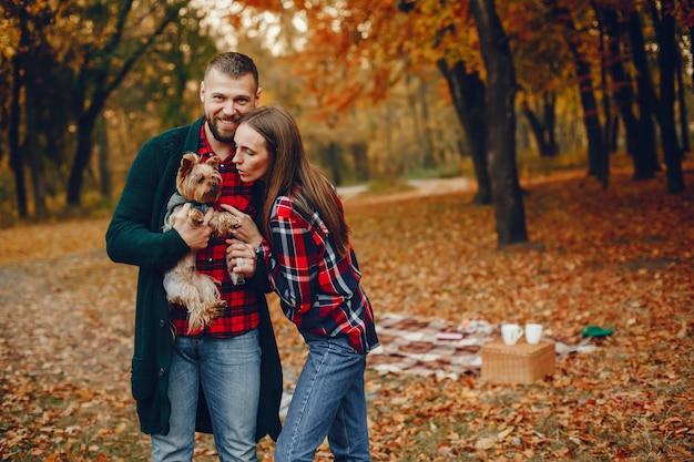 Elegante pareja pasa tiempo en un parque de otoño Foto gratis