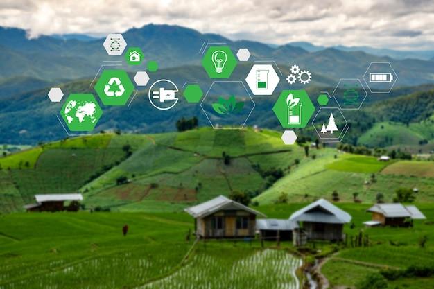Elementos de fuentes de energía sostenibles Foto Premium