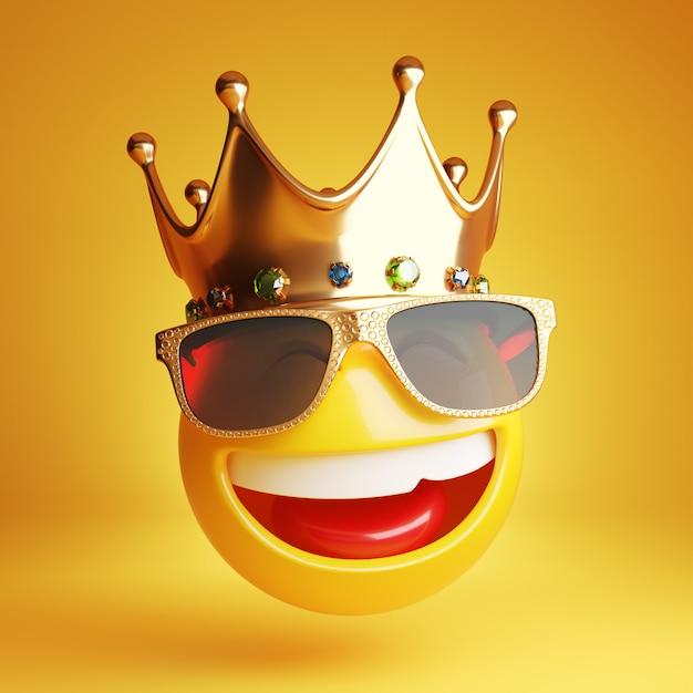 Emoji sonriente con gafas de sol doradas y una corona real modelo 3d Foto Premium