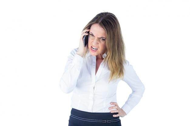 Empresaria Enojada Hablando Por Teléfono