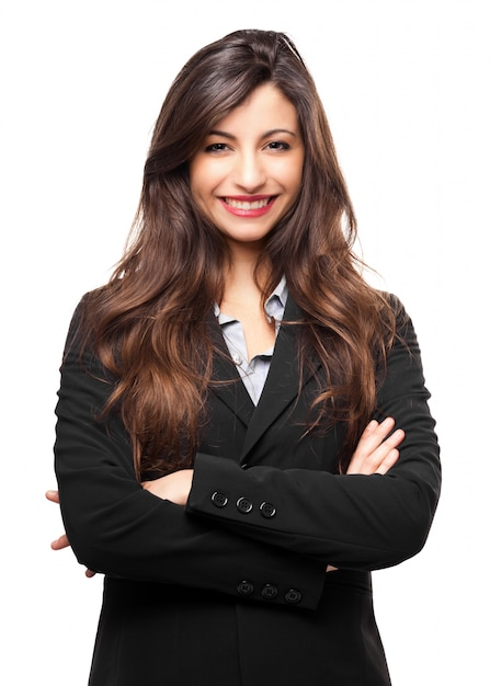 Empresaria sonriente aislada en blanco Foto Premium