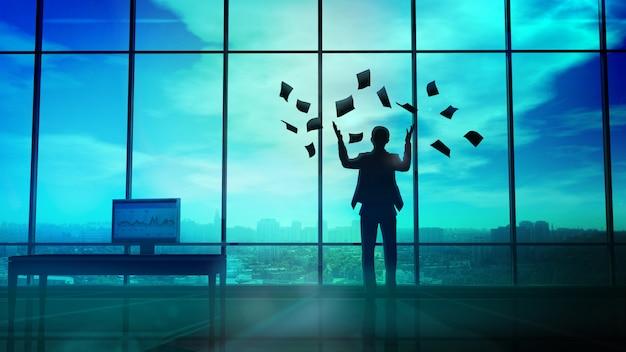 Empresario extendiendo papel por la ventana de la oficina Foto Premium