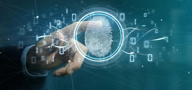 Empresario con identificación digital de huellas dactilares y renderizado de código binario 3d Foto Premium