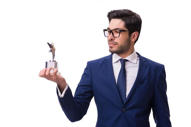 Empresario inconformista recibiendo premio aislado Foto Premium