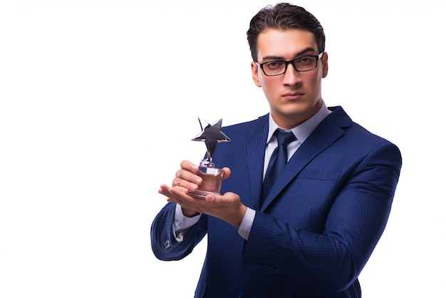Empresario con premio estrella Foto Premium