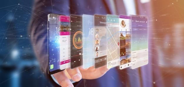 Empresario sosteniendo 3d plantilla de aplicación de representación en un teléfono inteligente Foto Premium
