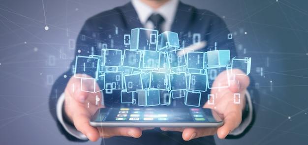 Empresario sosteniendo una nube de blockchain y representación 3d de datos binarios Foto Premium