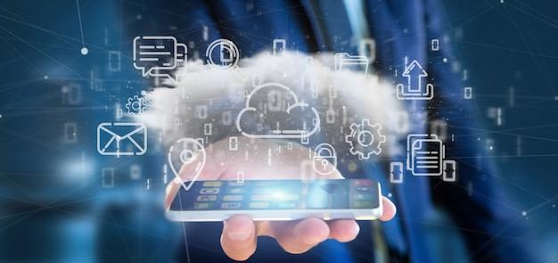 Empresario sosteniendo una nube de icono multimedia Foto Premium
