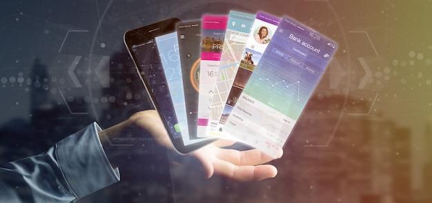 Empresario sosteniendo la plantilla de aplicación móvil en una representación 3d de smartphone Foto Premium