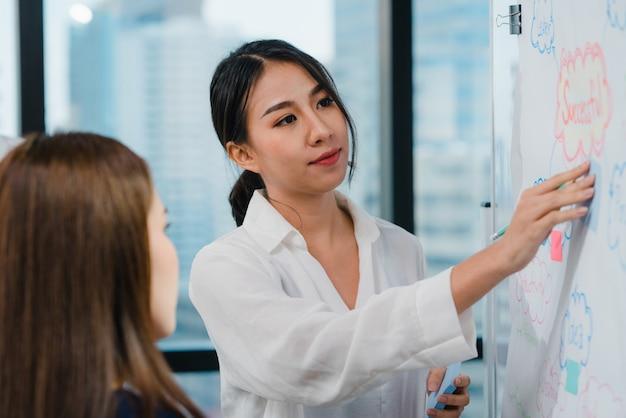 Empresarios y empresarias de asia que se reúnen ideas de lluvia de ideas que conducen a colegas del proyecto de presentación comercial que trabajan juntos planean la estrategia de éxito disfrutan del trabajo en equipo en una pequeña oficina moderna. Foto gratis