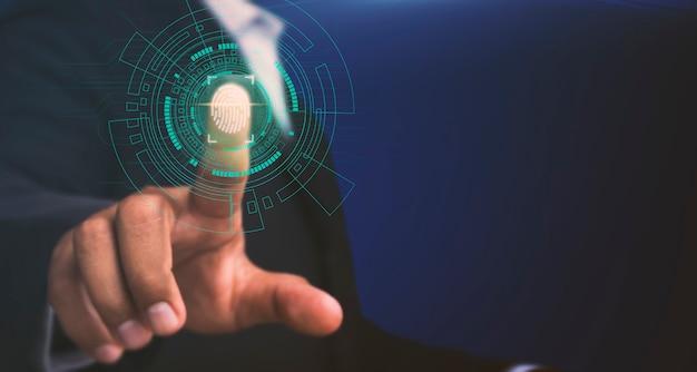 Los empresarios escanean huellas digitales para acceder a información de alto nivel Foto Premium