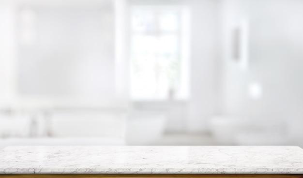 Encimera de mesa de mármol en el fondo de la sala de baño Foto Premium