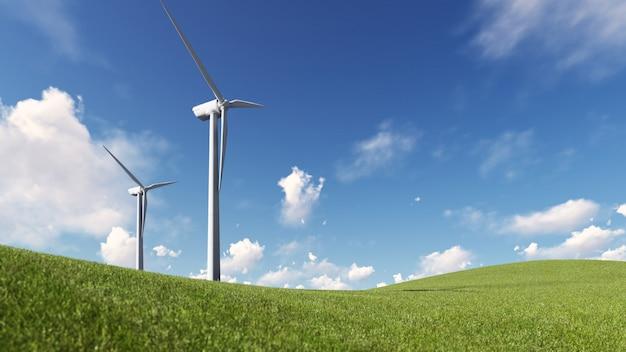 Energía de molino de viento Foto Premium