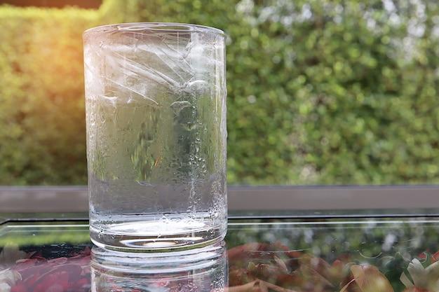 Enfríe el agua potable en un vaso con hielo dentro de la mesa de vidrio con una flor seca debajo Foto Premium