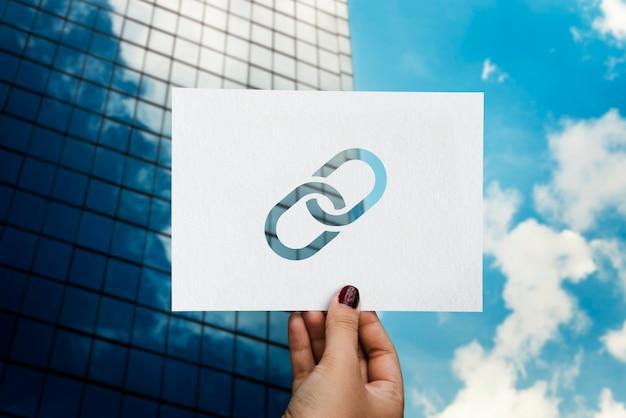 Enlace corporativo conectado papel perforado Foto gratis