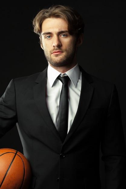 Entrenador, negocios, deporte en negro Foto Premium