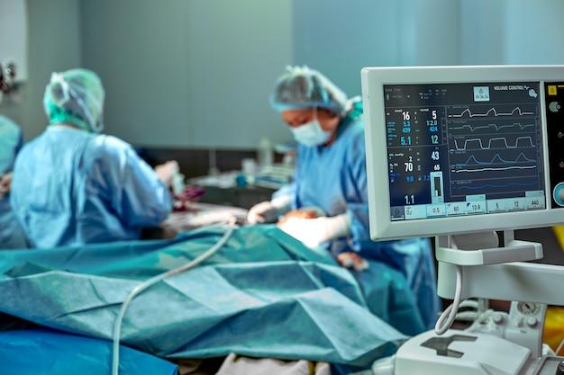 Equipo de cirujanos para trabajar en quirófano. varios cirujanos están haciendo una operación en una sala de operaciones real. luz azul, guantes blancos tiro vertical. Foto Premium