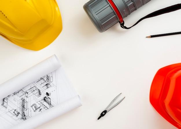 Equipo de construcción plana arquitecto con copyspace Foto gratis