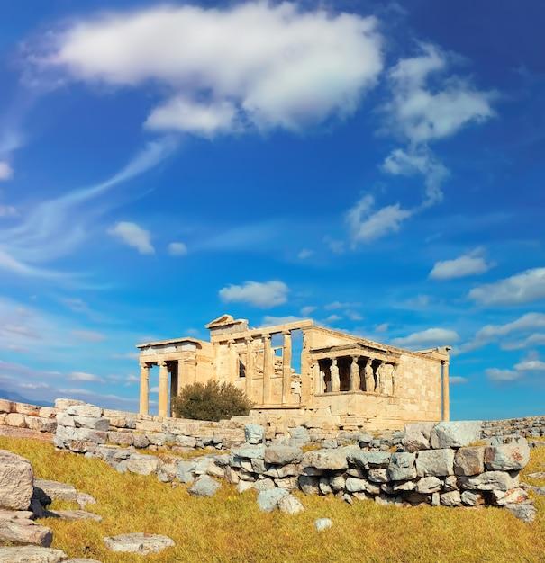Erecteion templo acrópolis, atenas, grecia, imagen panorámica Foto Premium