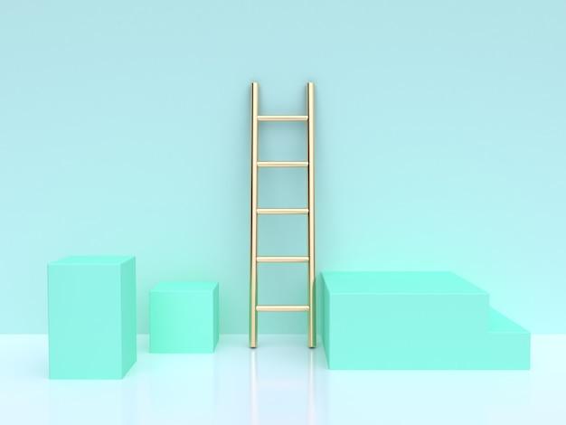 Escalera dorada y cubos turquesa render 3d Foto Premium