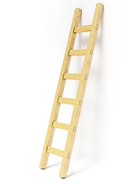 Escalera de madera cerca de la pared blanca Foto Premium