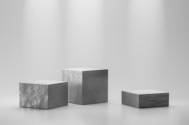 El escaparate de piedra o el podio de roca se colocan en el fondo blanco con concepto de mármol y foco. pedestal de exhibición de producto para diseño. representación 3d Foto Premium