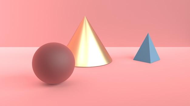 Escena abstracta de formas geométricas. cono de oro, pirámide azul y bola marrón borgoña. luz difusa suave en una escena 3d rosa polvorienta Foto Premium