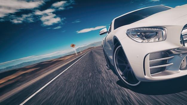 Escena del coche deportivo. Foto Premium