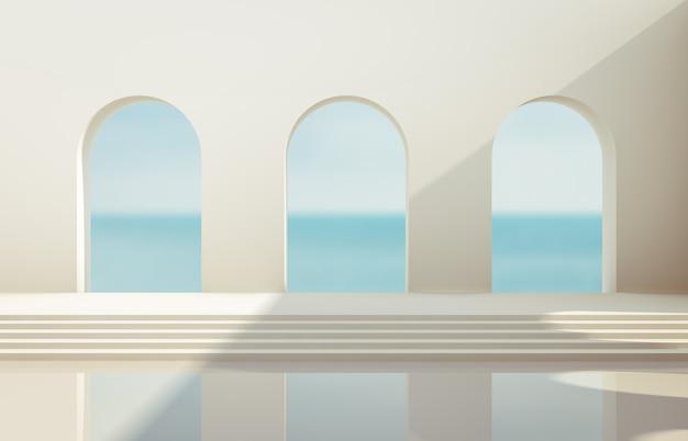 Escena con formas geométricas, arco con podio a la luz del día natural. fondo de paisaje mínimo. vista marítima. fondo de procesamiento 3d. Foto Premium