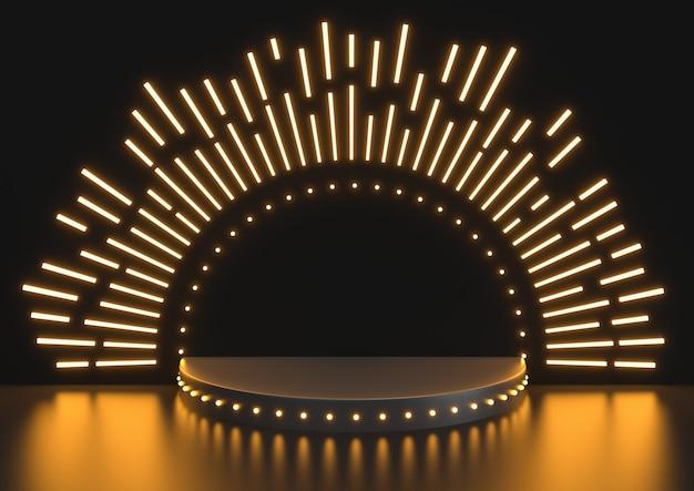 Escena del podio de la etapa para la celebración del premio en el fondo negro, podio de la etapa con la iluminación, render 3d. Foto Premium