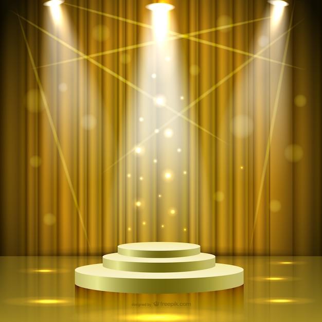 Escenario dorado con luces descargar vectores gratis - Cortinas para escenarios ...